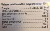Tagliatelles Bio aux oeufs - Nutrition facts