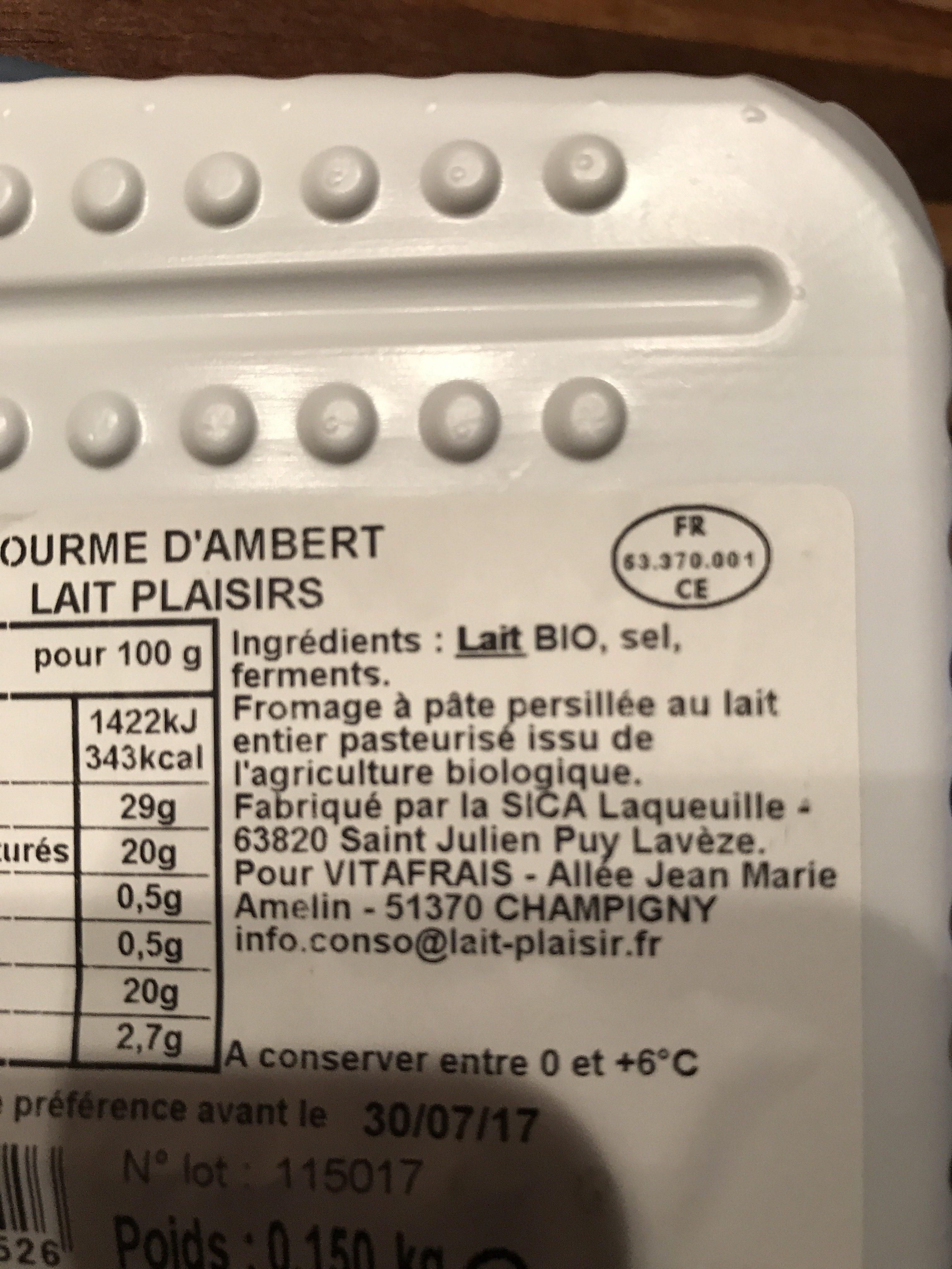 Fourme d'Ambert - Ingredients - fr