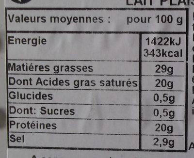 Bleu d'Auvergne A.O.P. (29% MG) - Nutrition facts - fr