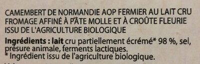 Camembert de Normandie - Ingredients - fr