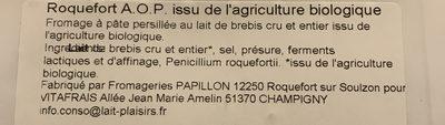 Roquefort - Ingredienti - fr
