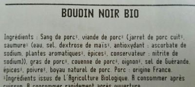 Le Boudin noir Bio - Ingredients