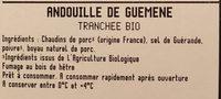 Andouille de Guéméné tranchée, bio - Ingredients