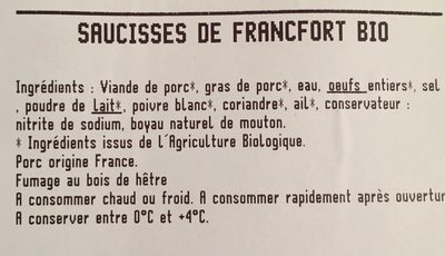 Saucisses de Francfort Bio - Ingredients