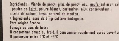 Saucisses de Francfort Bio - Nutrition facts