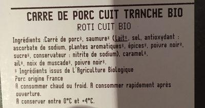 Rôtis de Porc bio - Ingredients