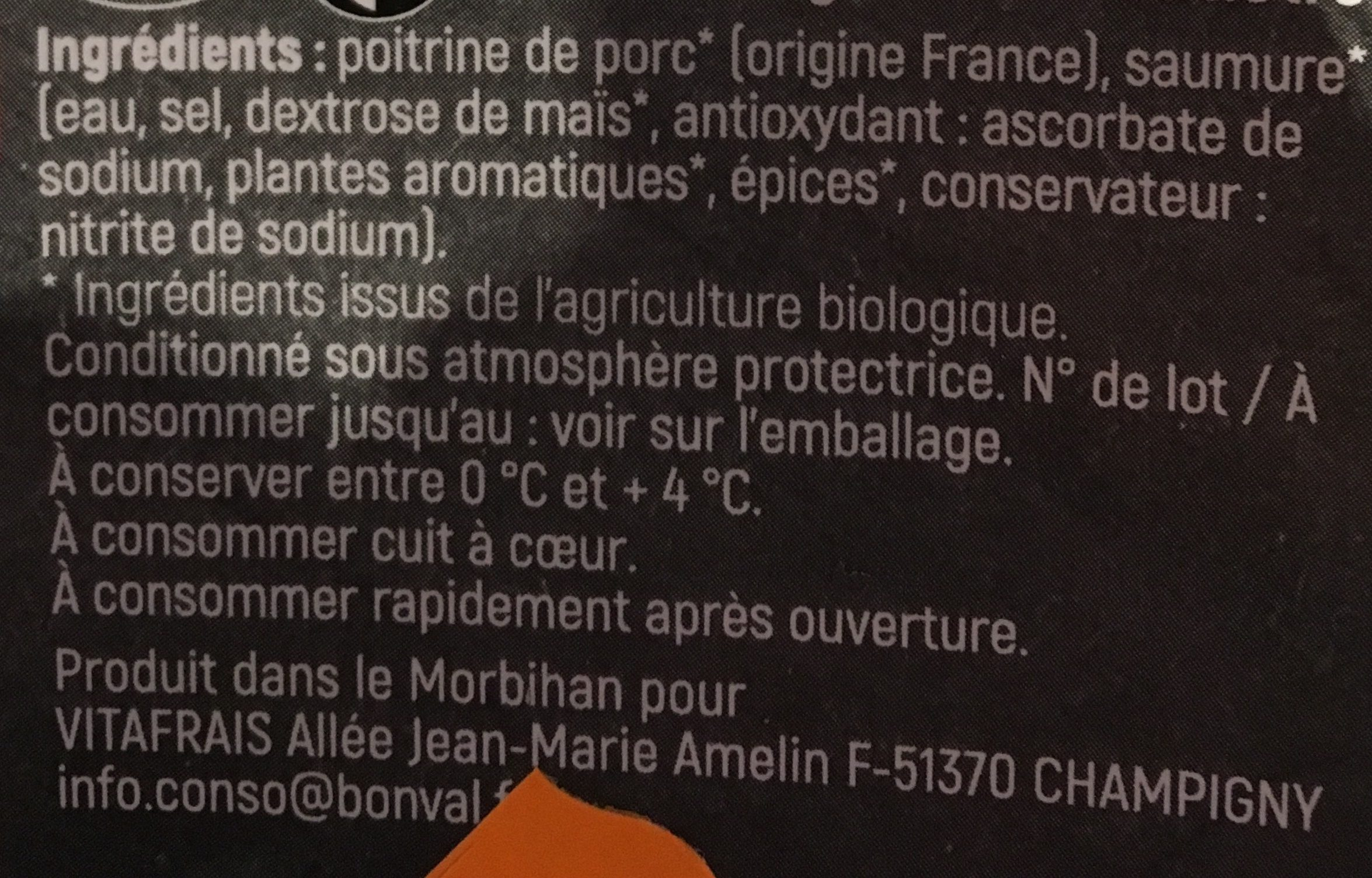 Lardons fumés bio ELEVEURS CERTIFIES - Ingredients