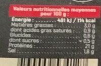 Jambon Cuit Supérieur - Nutrition facts - fr