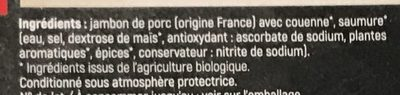 Jambon Cuit Supérieur Bio avec Couenne - Ingredients - fr