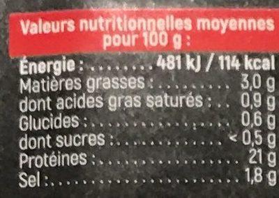 Jambon Cuit Supérieur Bio avec Couenne - Nutrition facts - fr