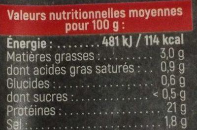 Jambon Cuit Supérieur, Bio Sans Couenne - Nutrition facts