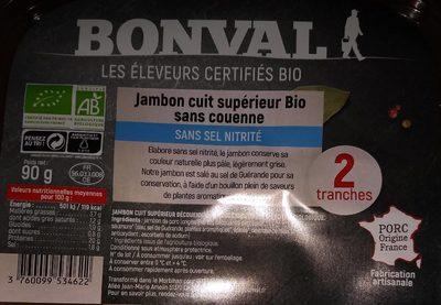 Jambon cuit superieur bio sans couenne - Produit - fr