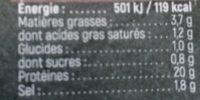 Jambon cuit superieur bio sans couenne - Informations nutritionnelles - fr