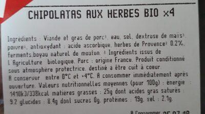 Chipolatas Aux Herbes X4 240G - Ingrédients