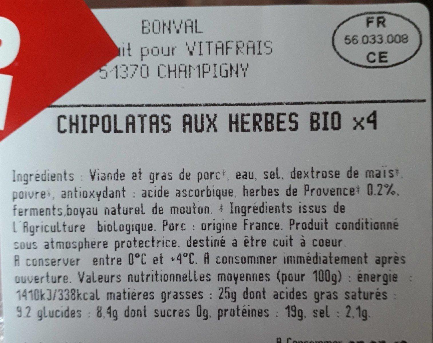Chipolatas Aux Herbes X4 240G - Informations nutritionnelles - fr