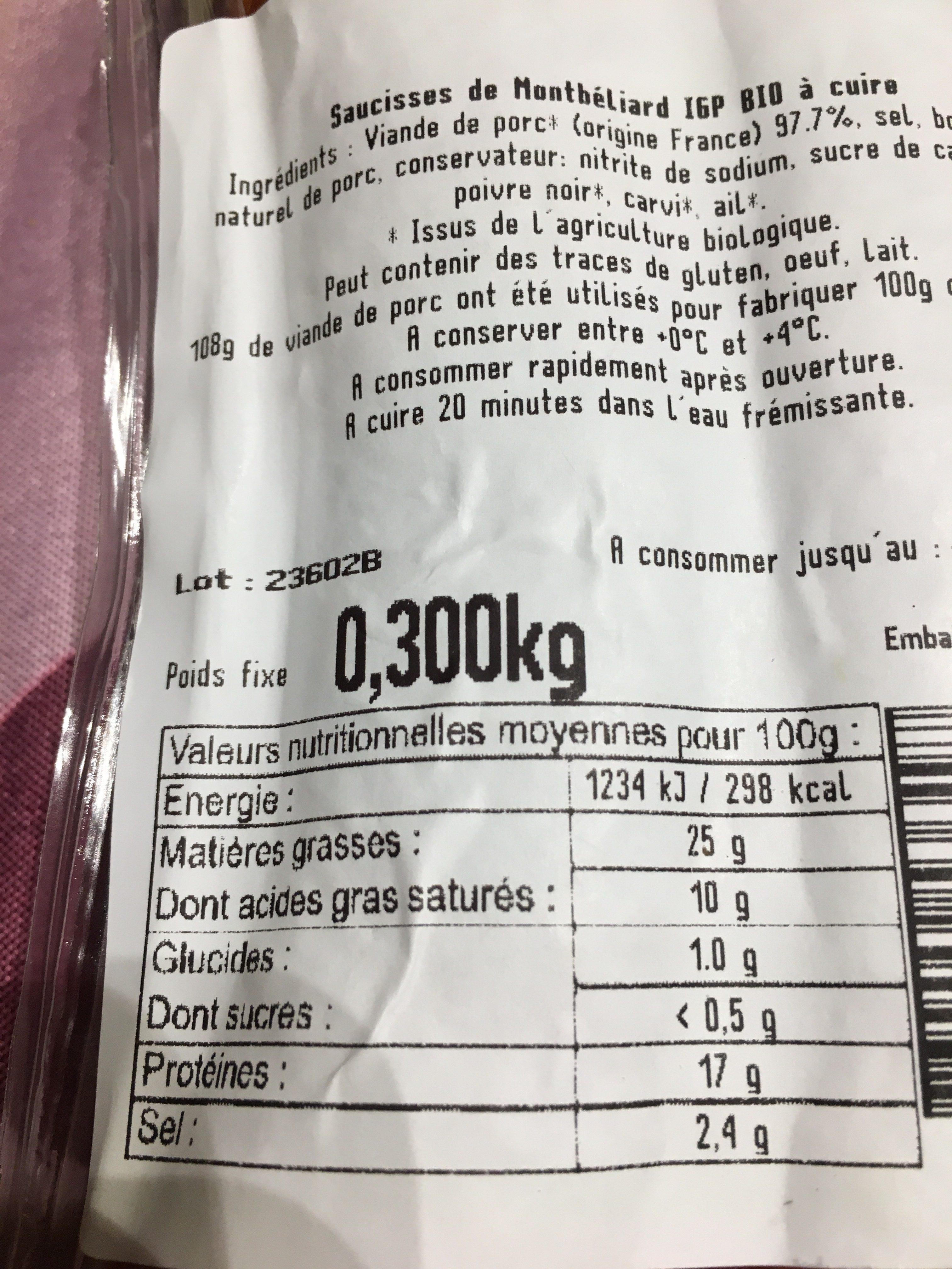 Saucisse de Montbéliard IGP X2 - Ingredients