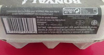 6 oeufs bio frais - Ingredients