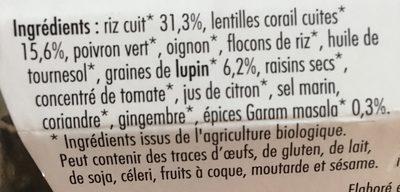 Gourmets de Lentilles Corail Gingembre et épices Indiennes au Lupin - Ingrédients