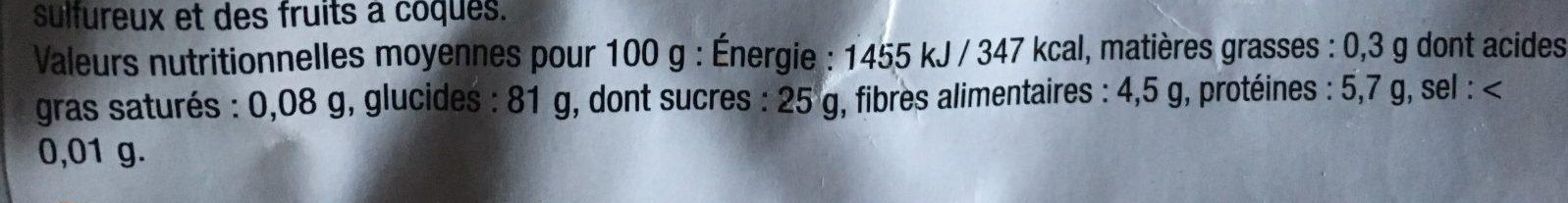Mangues sechées - Voedingswaarden - fr