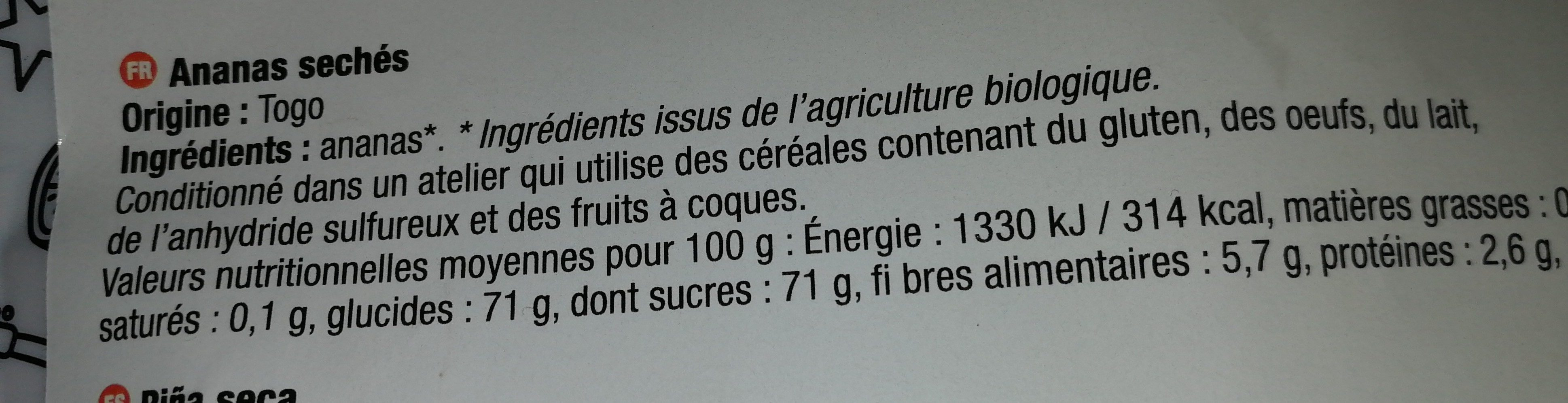 Ananas Séchés Bio - Ingredienti - fr