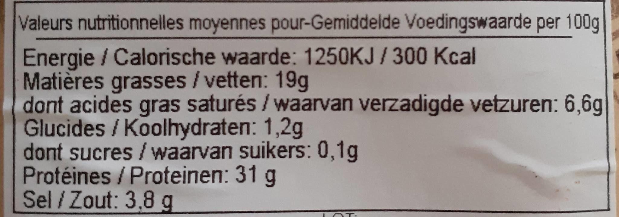 Jambon speck - Voedingswaarden - fr