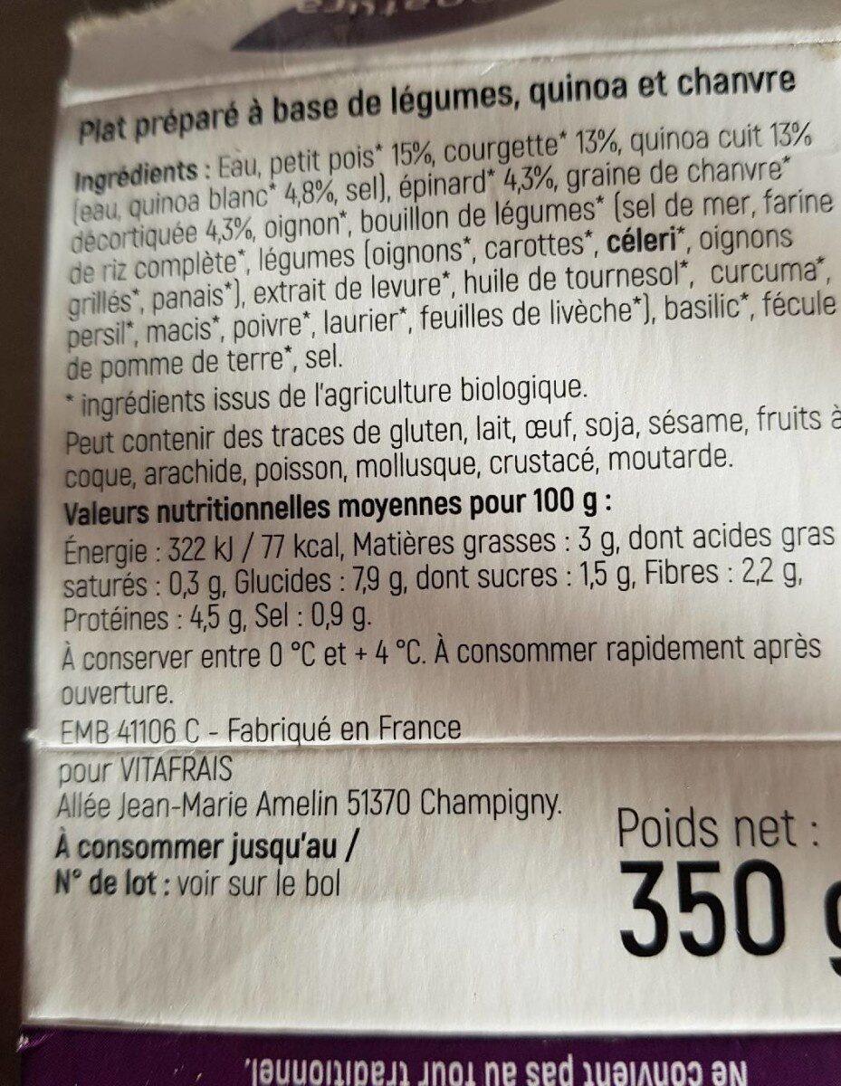 Soupe gourmande petits pois, courgette et quinoa - Informations nutritionnelles - fr