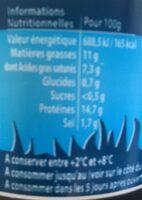 Cancoillotte nature biologique, le pot de - Nutrition facts - fr