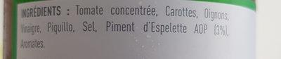 Ketchup Basque - Ingrédients