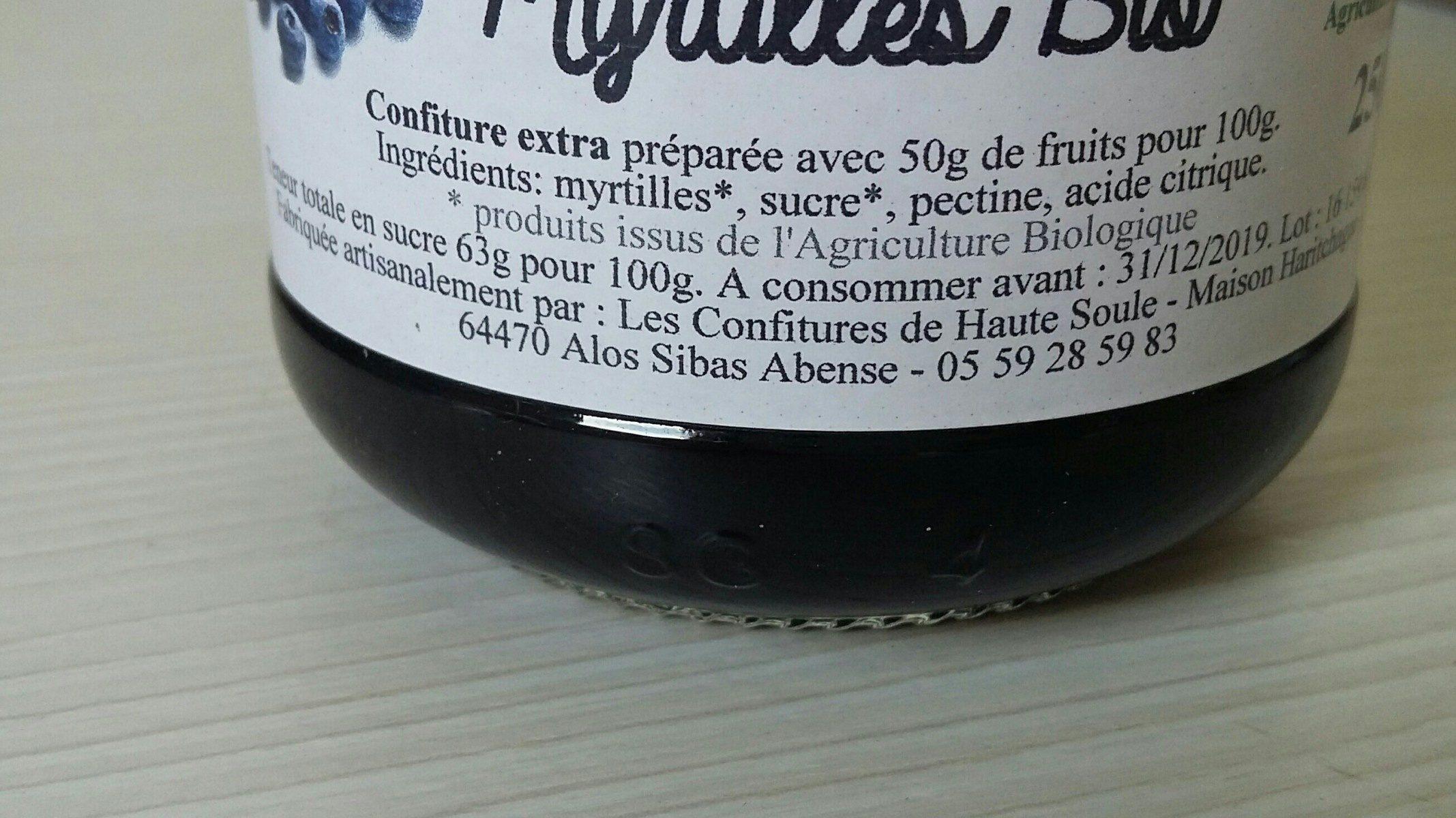 Confiture de Myrtilles Bio - Ingrediënten