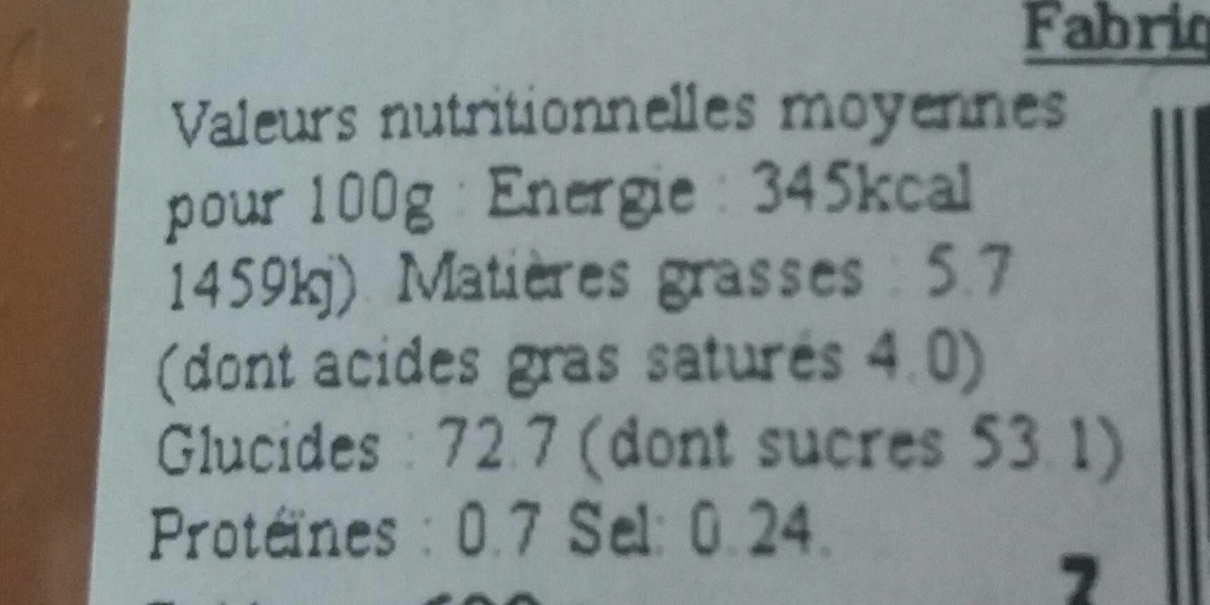 Le Coulis Caramel Artisanal - Informations nutritionnelles - fr