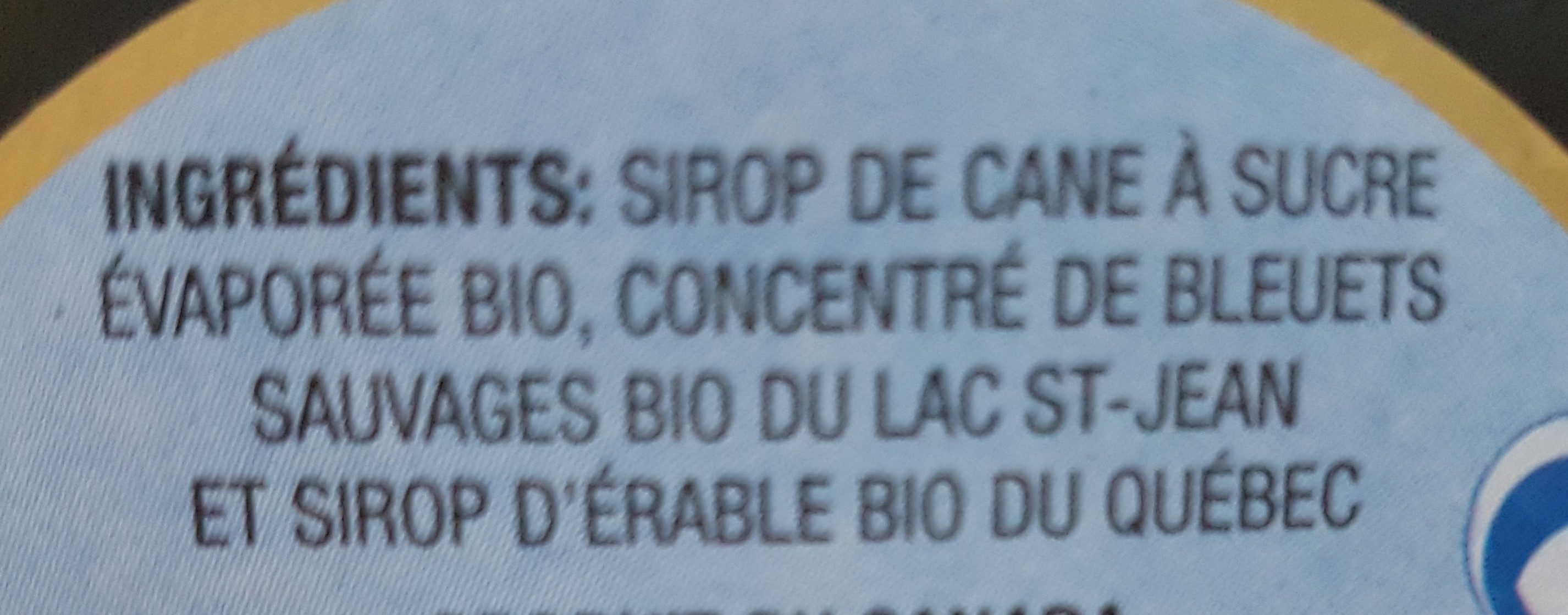 Sirop de bleuet du lac st-jean - Ingrédients - fr