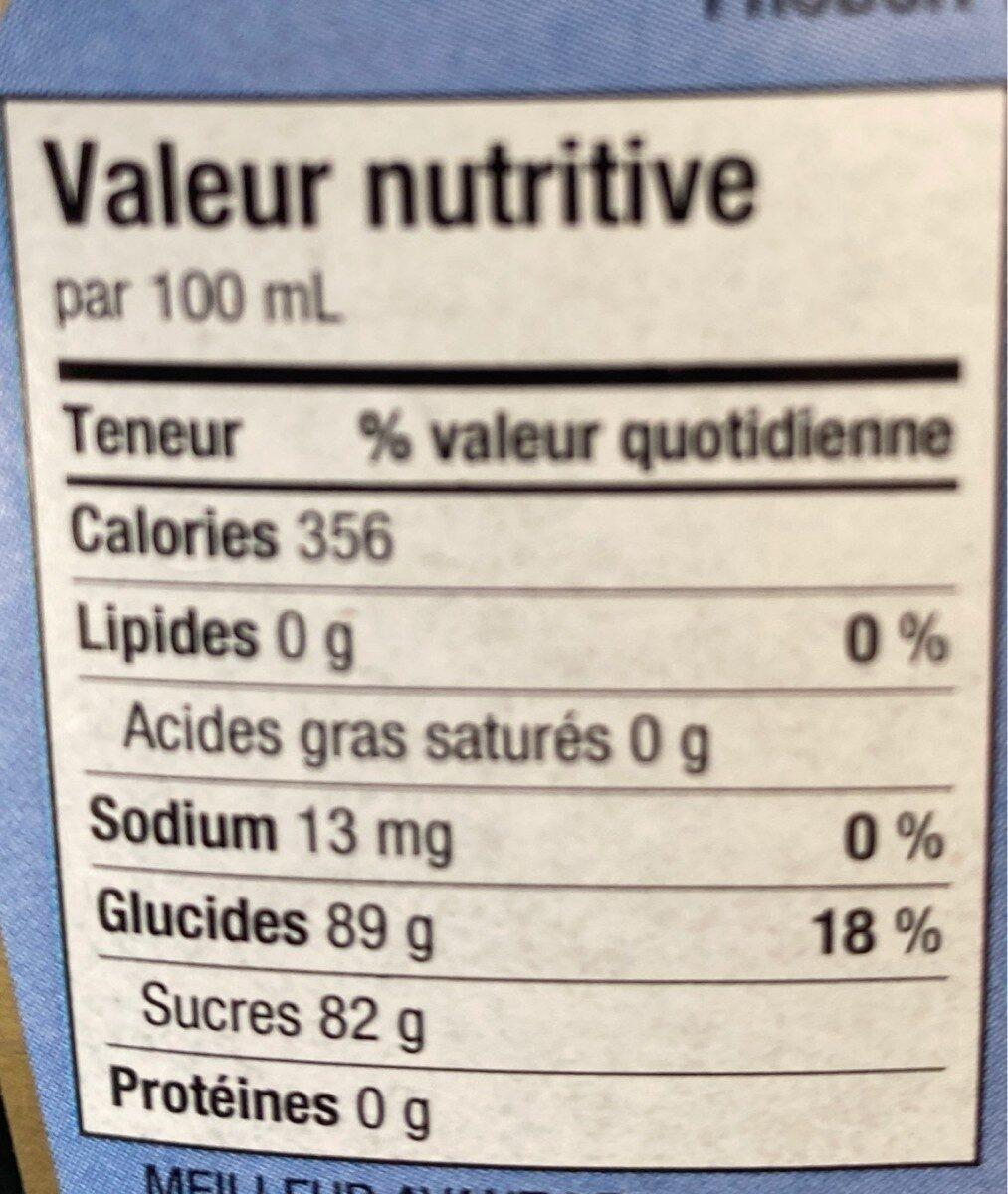 Sirop de bleuet du lac st-jean - Informations nutritionnelles - fr