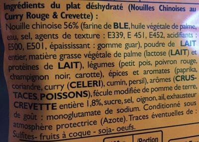 Plat lyophilisé - Nouilles chinoises au curry rouge et crevettes - Ingredients - fr