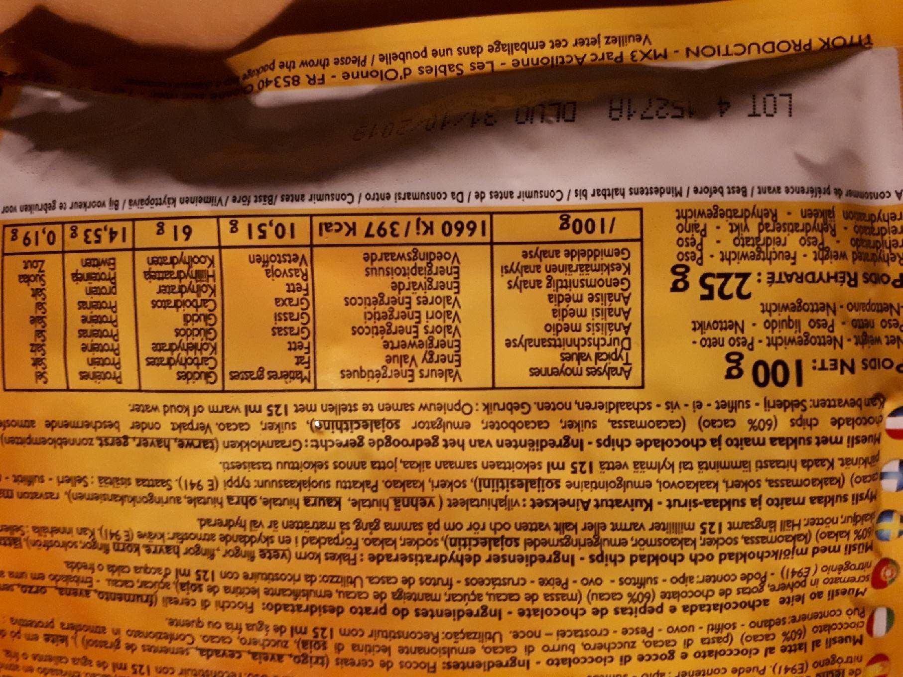 extreme sport nutrition - Nutrition facts