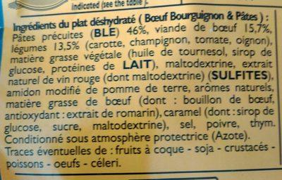 Boeuf bourguignon et pâtes - Ingrédients