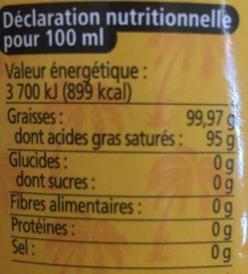 Huiles De Coco Bio - Nutrition facts