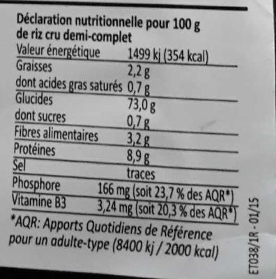 Riz thaï 1/2 complet - Valori nutrizionali - fr