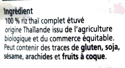 Riz thaï complet étuvé - Ingredienti - fr