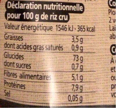 Riz Thai Complet - Nutrition facts