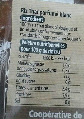 Riz Thai Blanc - Informations nutritionnelles - fr