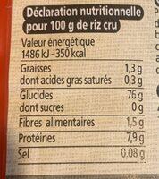 Basmati blanc - Informations nutritionnelles
