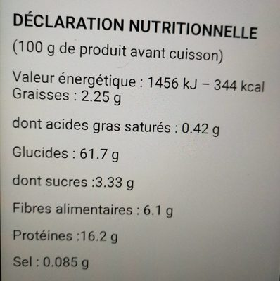 Minestrone de Riz Thaï et Pois Cassés - Nutrition facts