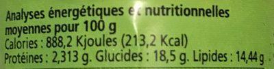 Pâte de Curry Thaï Vert Biologique - Voedingswaarden