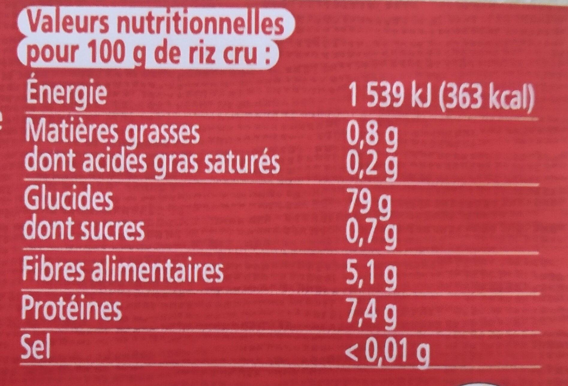 Riz Jasmin Blanc - Informations nutritionnelles - fr
