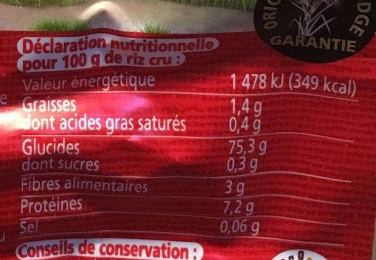 Riz Jasmin demi-complet - Informations nutritionnelles