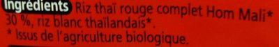 Tagliatelles Thaïes de Riz Rouge - Ingrediënten