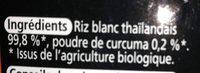 Tagliatelles Thaïes de riz Curcuma - Ingrediënten - fr