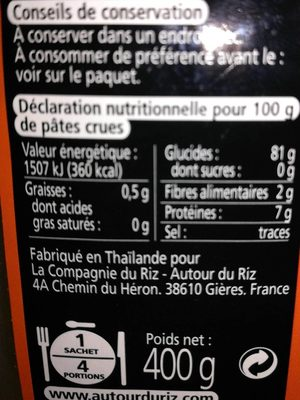 Tagliatelles Thaïes de riz Curcuma - Voedingswaarden - fr