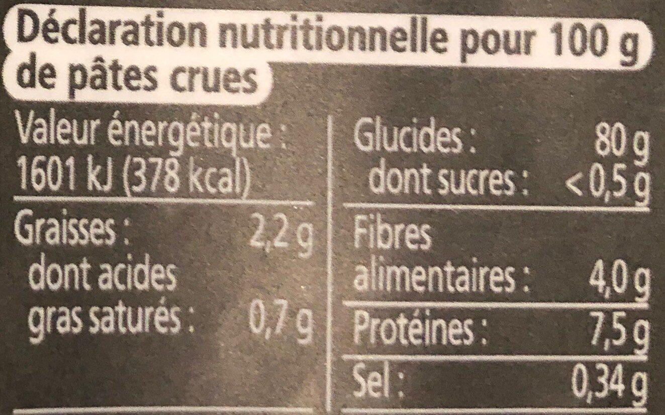 Epicerie / Céréales, Graines, Pâtes, Riz / Pâtes Demi-complètes - Nutrition facts - fr