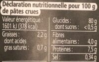 Tagliatelles thaies de riz - Valori nutrizionali - fr